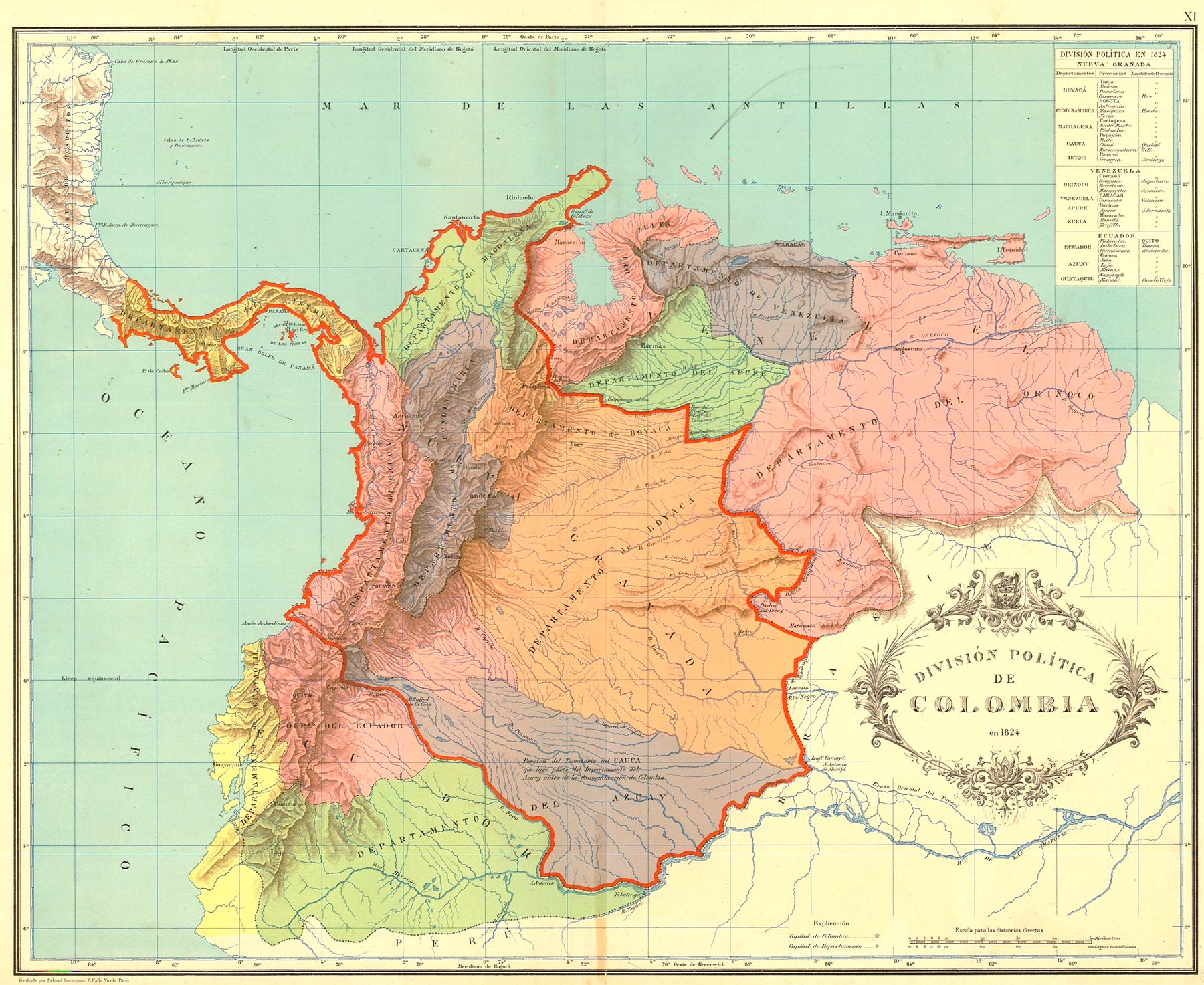 A map of Gran Colombia showing the 12 departments created in 1824 and territories disputed with neighboring countries.