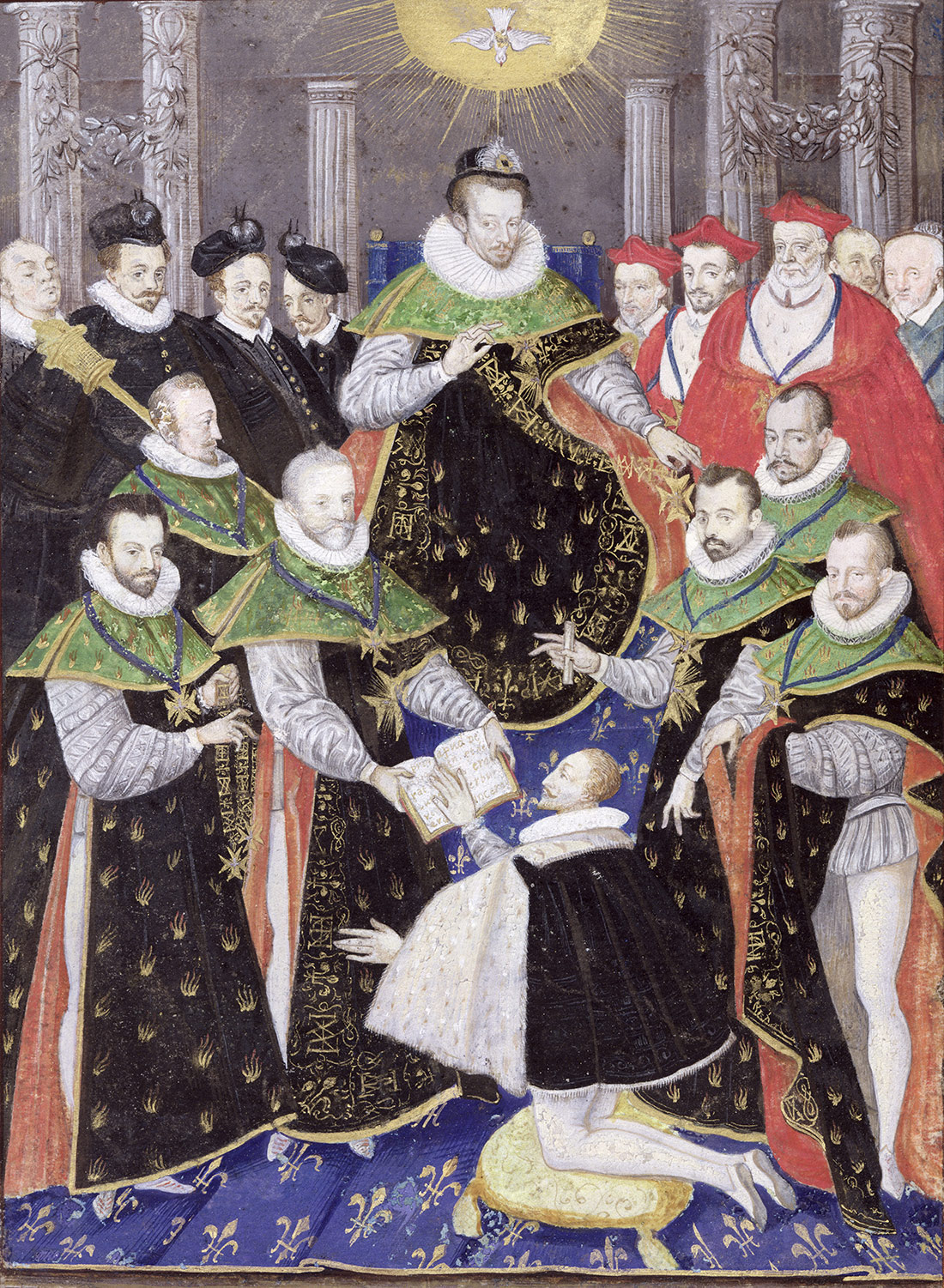 Henry III at court, from the First Chapter of the Holy Spirit, 16th-century manuscript.