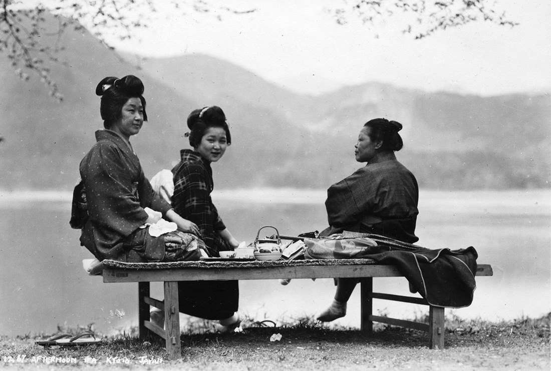 Japanese women picnic by a lake, 1930s