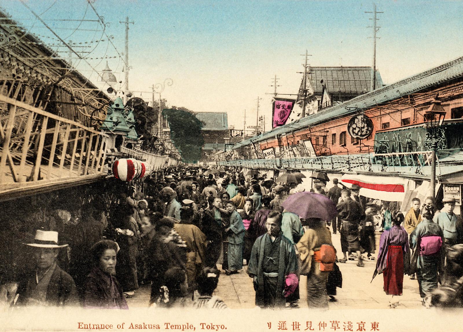 Nakamise-dori leading to the Senso-ji temple, Tokyo, 1900s