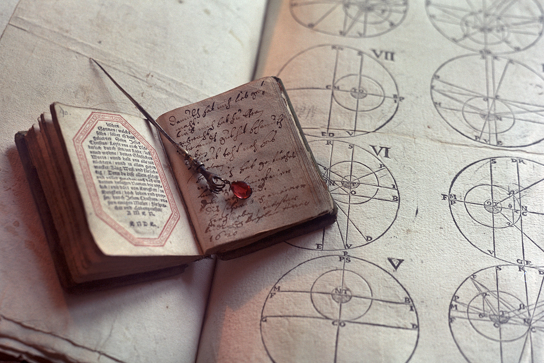 Johannes Kepler's prayer book and his wife's hairpin on a manuscript of his work.