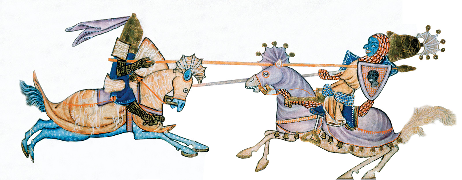 A joust between a crusader (left) and a Muslim, from the Luttrell Psalter, c.1340. Corpus Christ College.