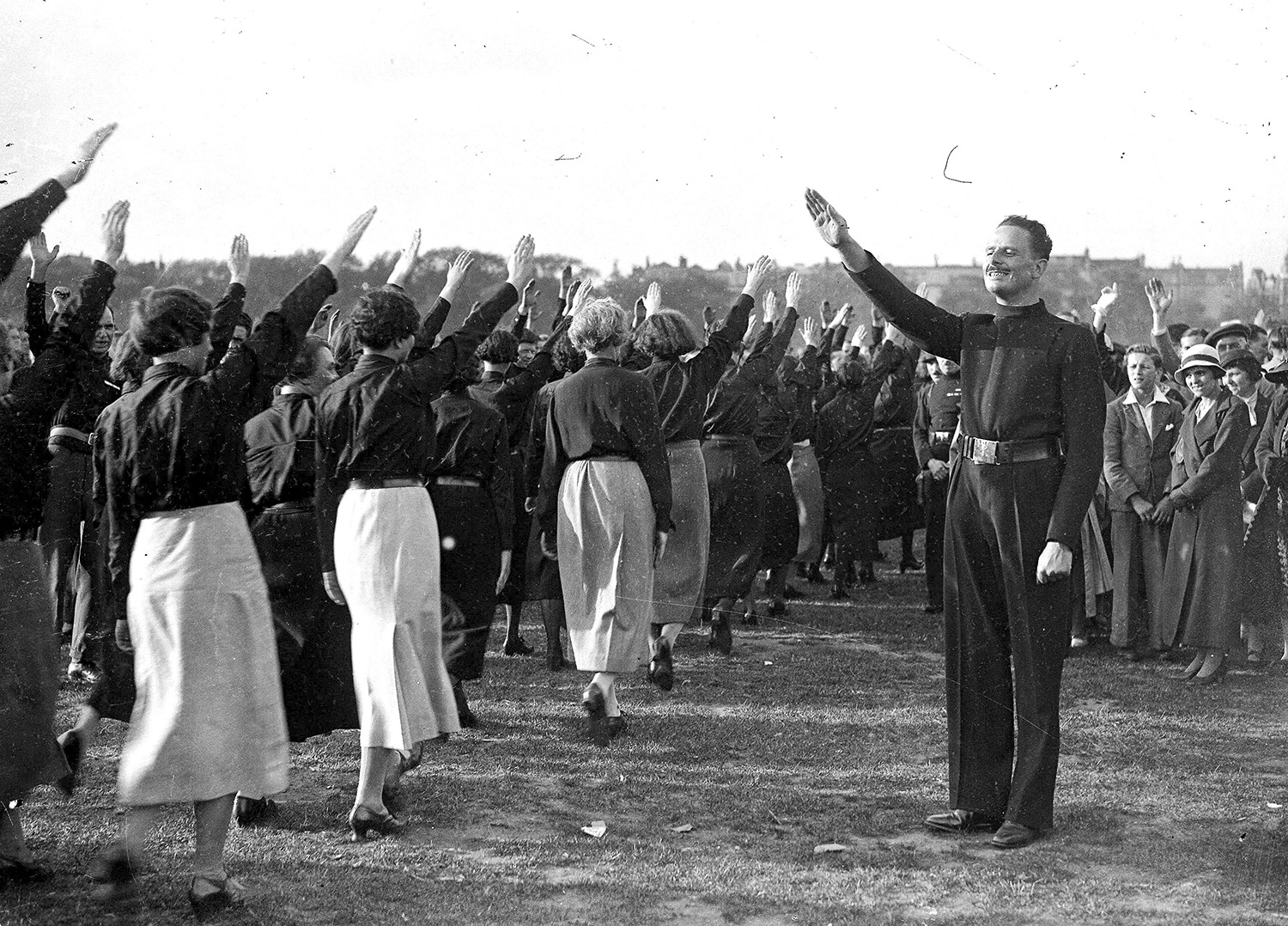 Mosley takes the salute of women members of the Blackshirts, Hyde Park, September 9th, 1934