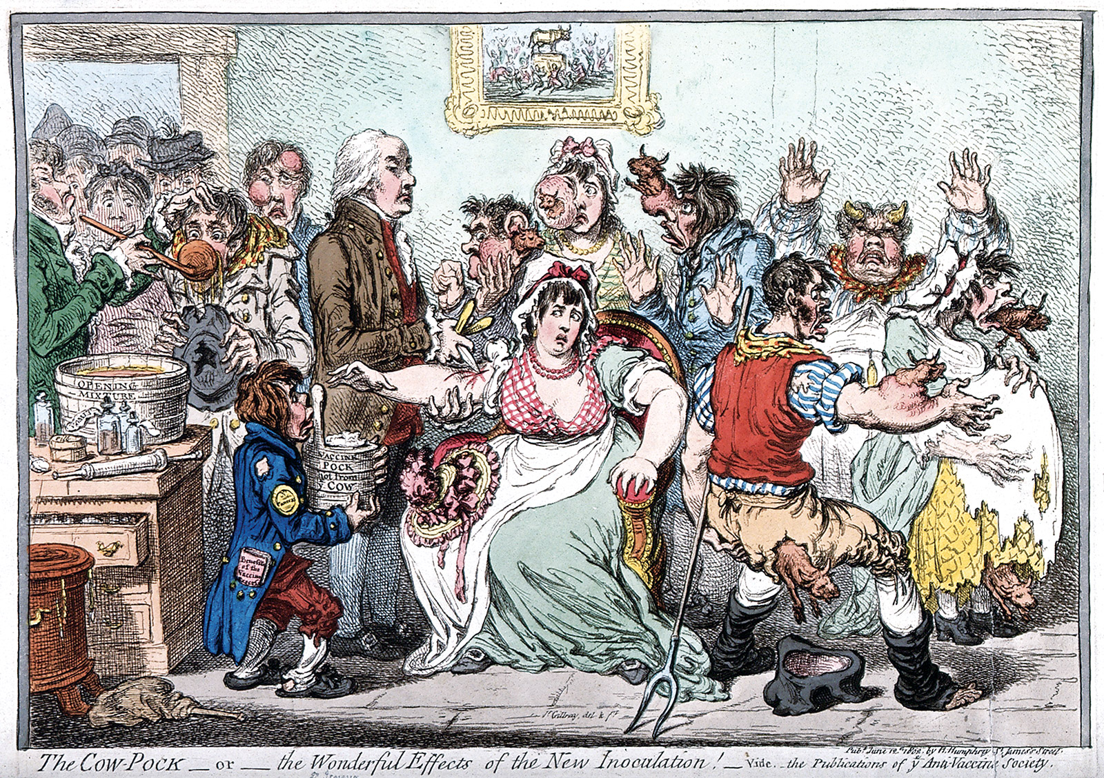 Caricature of Edward Jenner  inoculating patients by James Gillray, 1802.