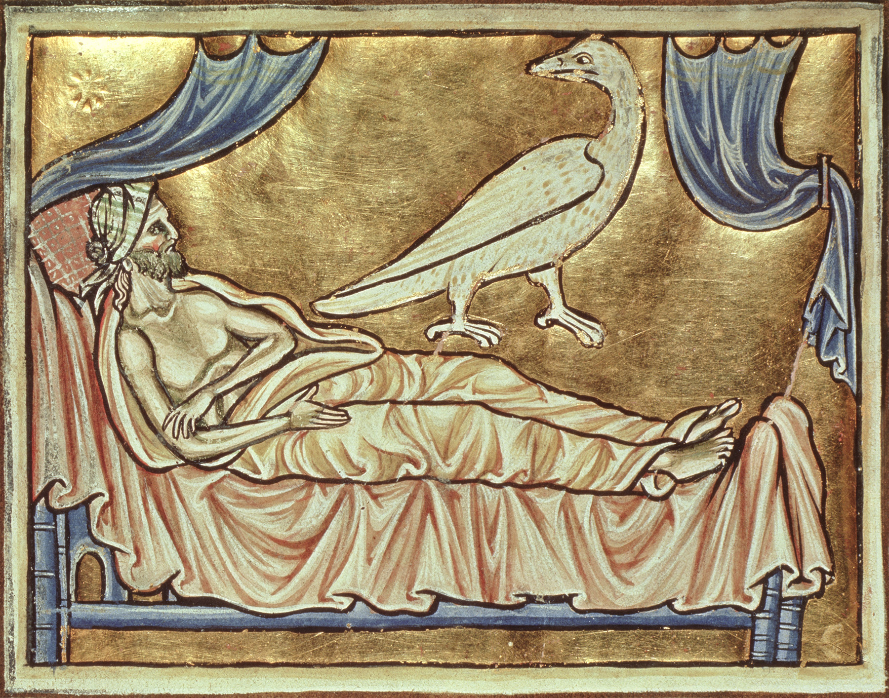 A caladrius bird, which foretold the fates of the sick, over a man in his bed, from a 13th-century copy of the 'Physiologus', Durham.