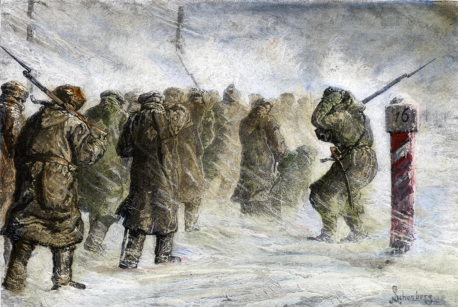 Russian exiles on a march in a snowstorm, English engraving, 1882.