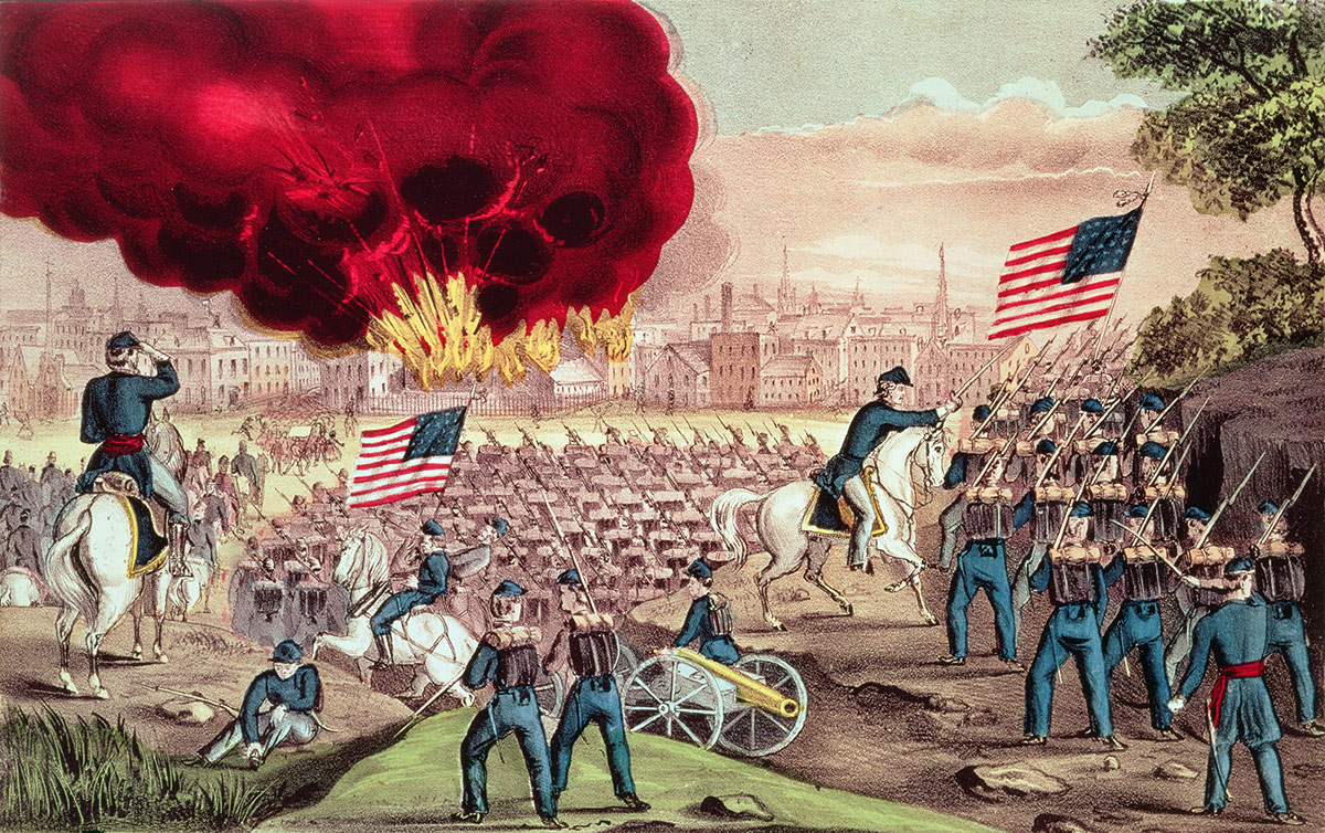 The Capture of Atlanta by the Union Army, September 2nd, 1864. American Antiquarian Society, Worcester, Massachusetts, USA / Bridgeman Images