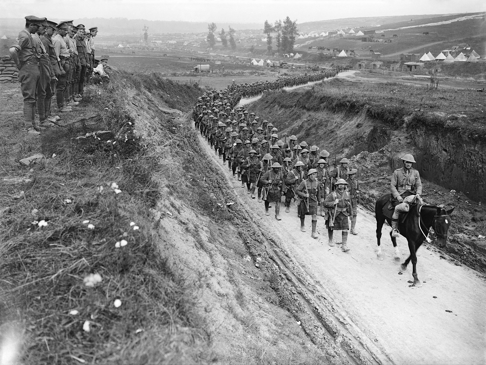 Gordon Highlanders march to the trenches along the Bercodel-Fricourt road, October 1916