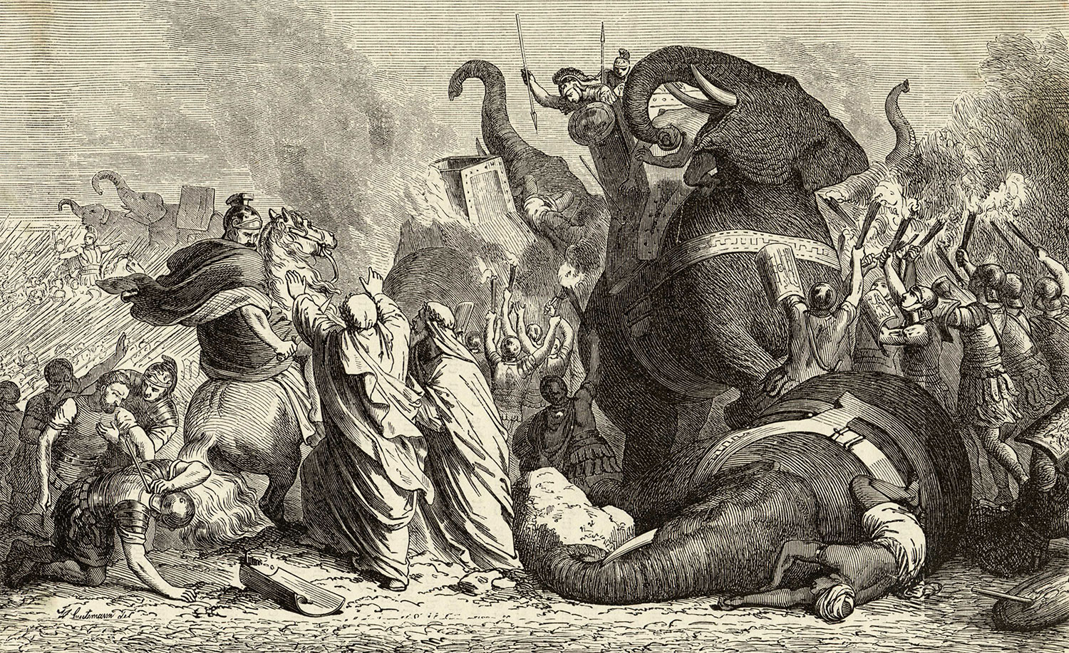 Pyrrhus abandons his fight in Tarentum against the Romans to aid the Sicilian Greeks, 19th-century engraving. Mary Evans Picture Library