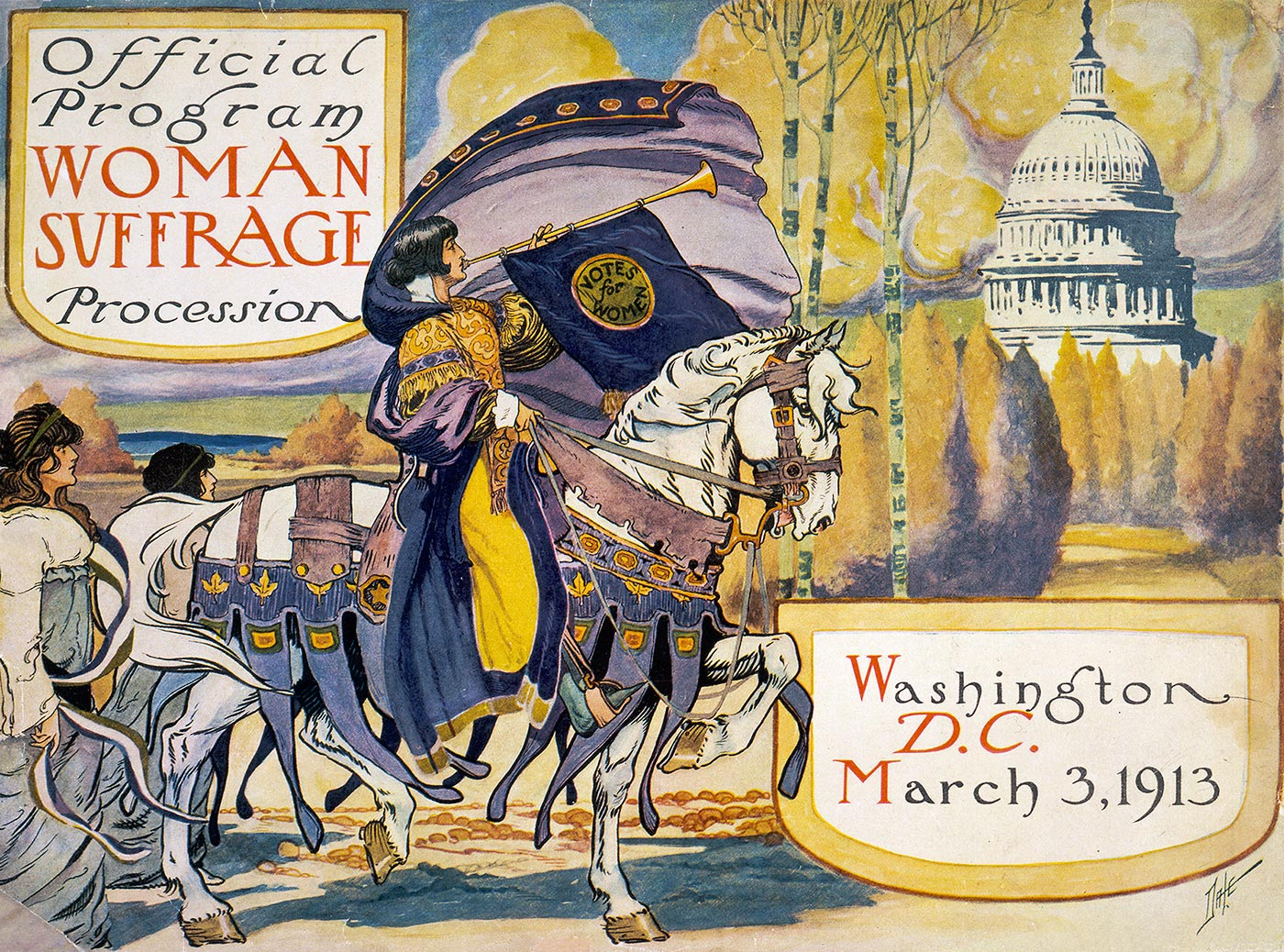 The cover of the programme for a procession of the National American Women's Suffrage Association, March 1913