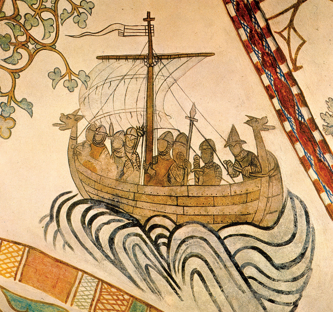 Viking ship carrying Harold III of Norway against his half-brother Olaf II in 1030, c.1375.