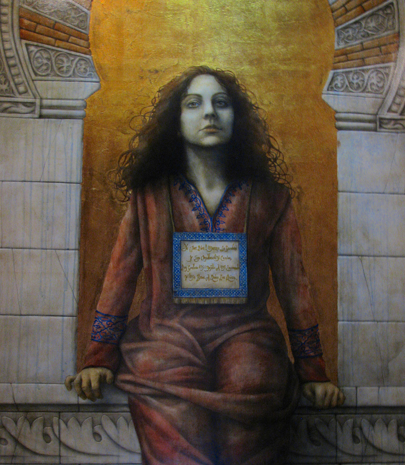 Portrait of Wallada by the contemporary artist José Luis Mun̄oz at the  Sepharad House Museum in Córdoba's Jewish Quarter.