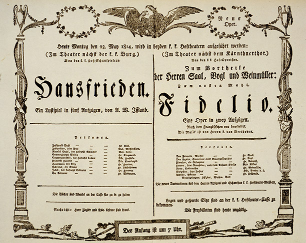The poster for the premier of Fidelio at Vienna's Kärtnertortheater