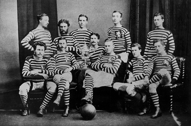 Pass masters: Queen's Park, after winning the inaugural Scottish FA Cup in 1874