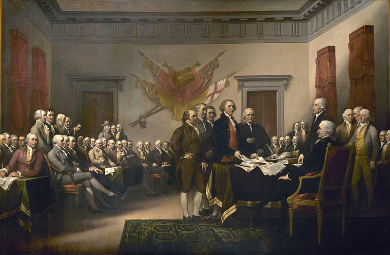 The Committee of Five presenting their draft of the Declaration of Independence to the Congress on June 28, 1776. Painting by John Trumbull.
