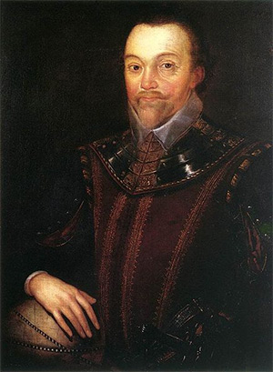 A 16th century oil on canvas portrait of Sir Francis Drake in Buckland Abbey, painting by Marcus Gheeraerts the Younger.