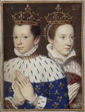 Francis II (age 15) with his wife Mary, Queen of Scots (age 17) in 1559.