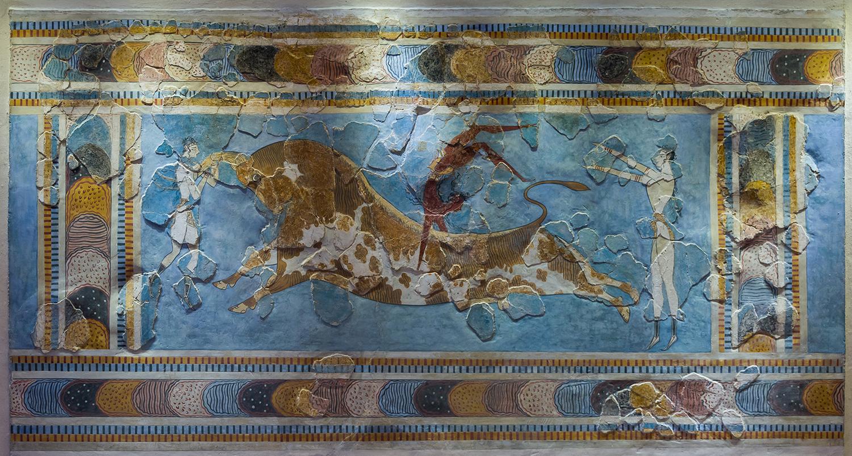 Bull-Leaping Fresco, Knossos, 1450 BC.