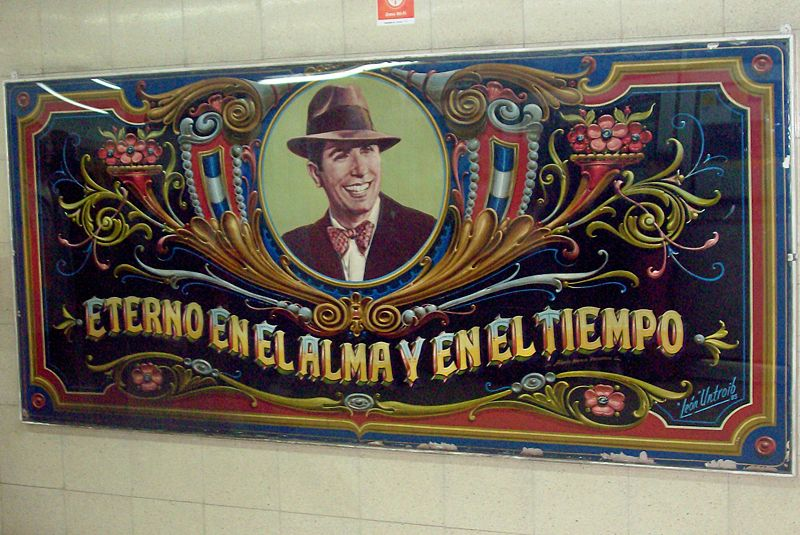 Portrait of Gardel in a subway station named after him in Buenos Aires.
