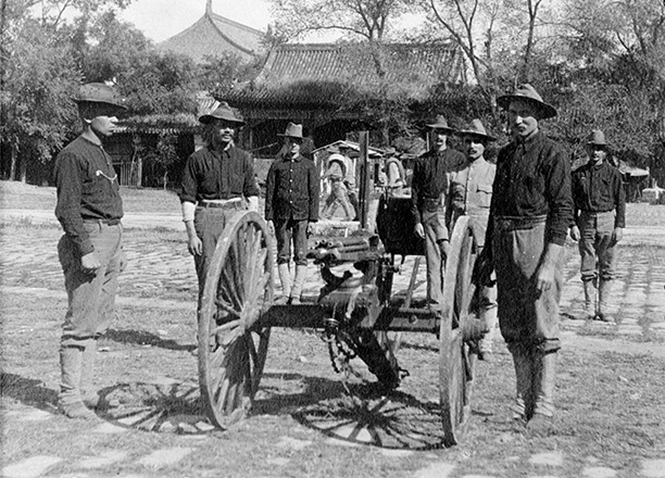 Industrial warfare: Men of the US Infantry Gatling Gun detachment in the Forbidden City, Beijing, c. 1900