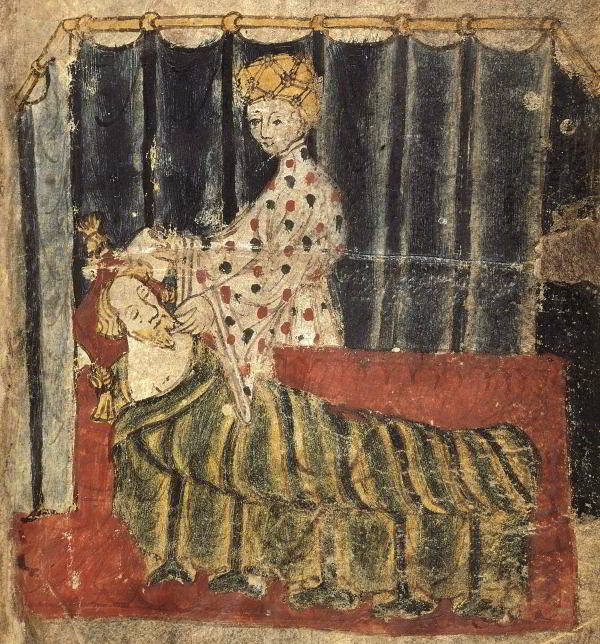 Gawain is visited by the lady of the castle. Illumination from the manuscript 'Cotton Nero A.X', c.1375-1400