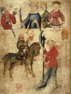 The Green Knight on horseback holds his severed head beside Sir Gawain, who stands with an axe, watched by King Arthur and Guinevere. Illumination from 'Cotton Nero A.X', c.1375-1400