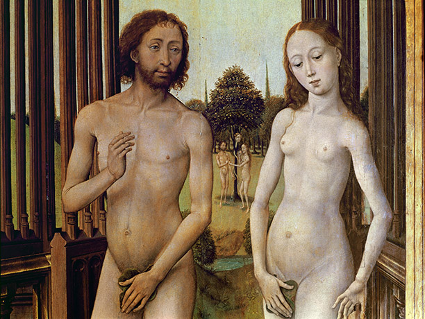 Adam and Eve expelled from the Garden of Eden by Vrancke van der Stockt, c.1460.