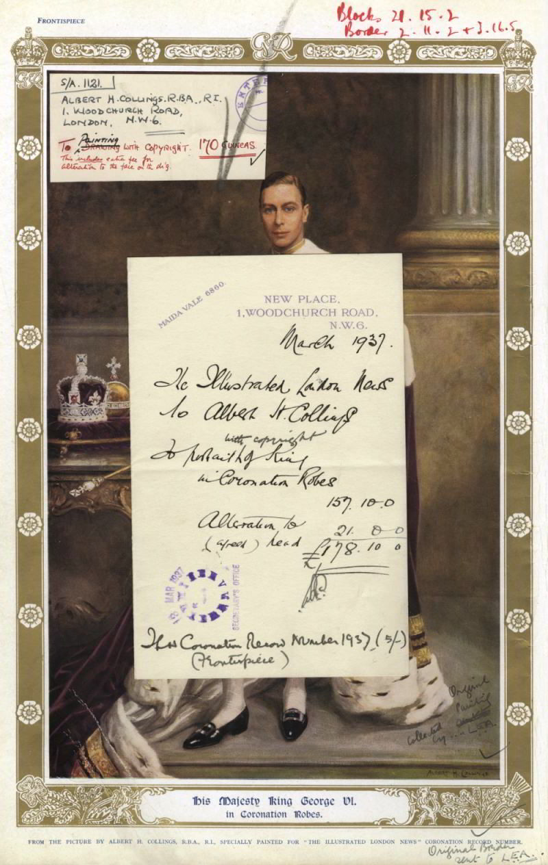 Click to see larger version: Albert Collings' portrait of George VI complete with the invoice and a note for the extra fee for 'alteration of face'. Mary Evans Picture Library.