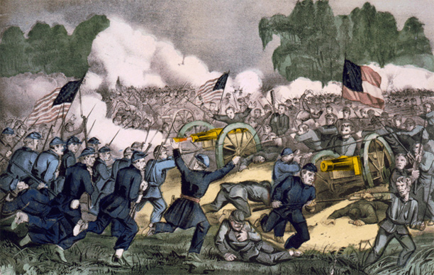 The battle of Gettysburg, Pa. July 3d. 1863. Hand-colored lithograph by Currier and Ives.