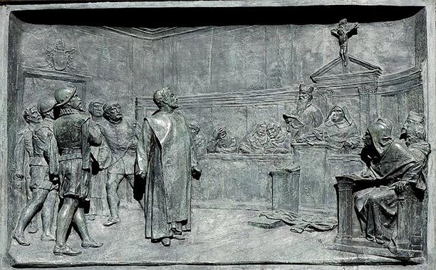 The trial of Giordano Bruno by the Roman Inquisition. Bronze relief by Ettore Ferrari, Campo de' Fiori, Rome.