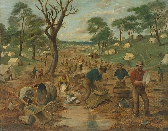 Edwin Stockqueler, An Australian Gold Diggings, oil on canvas, ca. 1855, National Gallery of Australia