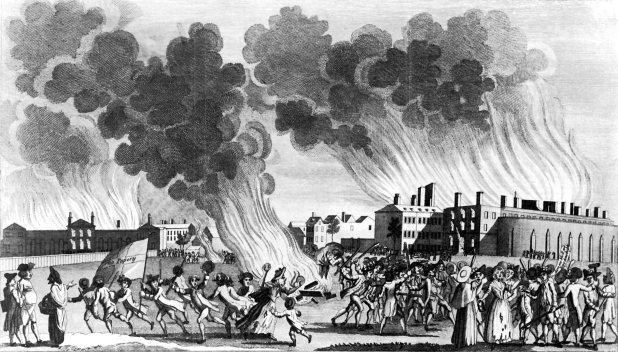 'The Mob destroying & Setting Fire to the Kings Bench Prison & House of Correction in St George's Fields': a print made during the Gordon Riots, 1780