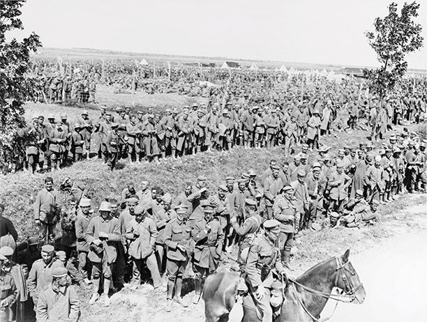 The end in sight: British troops round up German prisoners after the Battle of Amiens, August 9th, 1918