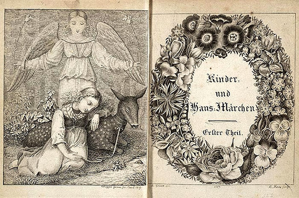 Frontispiece and decorative title page of an 1819 edition of the Brothers Grimm's 'Kinder-und Hausmarchen', illustrated by Ludwig Emil Grimm with engravings by L. Haas.