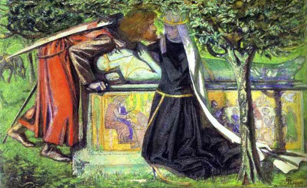 Dante Gabriel Rossetti: Arthur's Tomb - The Last Meeting of Lancelot and Guinevere (1854, Watercolour on paper)