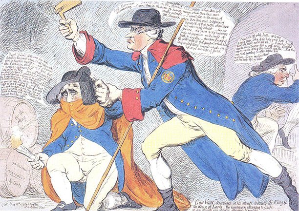 'Guy-Vaux, discovered in his attempt to destroy the King and the House of Lords - His Companions attempting to Escape', by James Gillray, May 14th, 1791. Edmund Burke discovers Fox (Fawkes) and R.B. Sheridan - both supporters of the French Revolution - about to set fire to gunpowder casks.