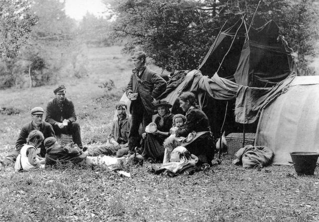 A Gypsy family camped in the New Forest, Hampshire in the 1890s