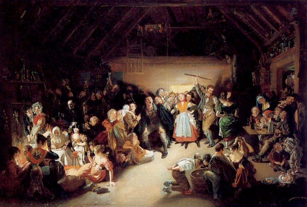 Snap-Apple Night (1832) by Daniel Maclise. Depicts apple bobbing and divination games at a Halloween party in Blarney, Ireland.