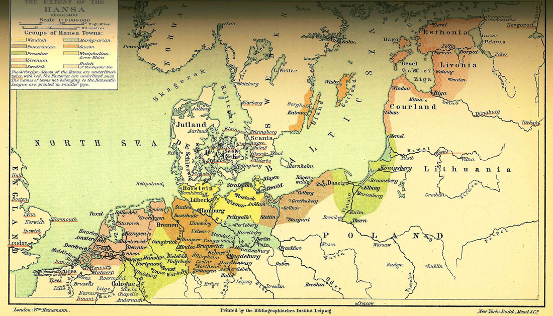The Extent of the Hansa about 1400.