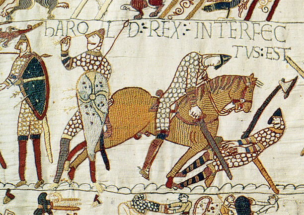 "Harold Rex Interfectus Est: ""King Harold is killed"". Scene from the Bayeux Tapestry depicting the Battle of Hastings and the death of Harold."