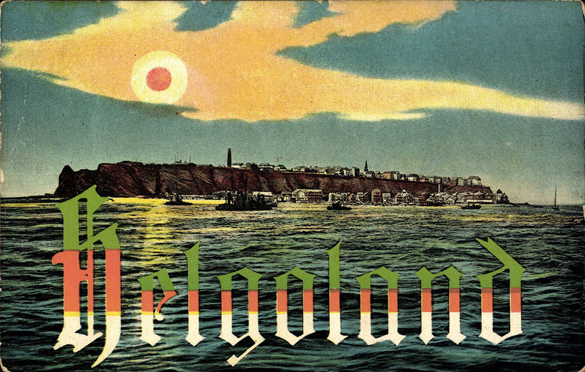 Heligoland depicted in a German postcard, 1930s.