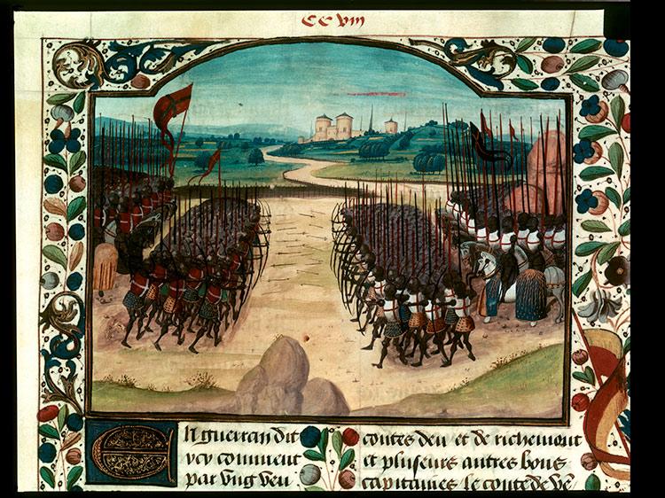 The Battle of Agincourt, from the Chronique d'Enguerrand de Monstrelet, 15th century