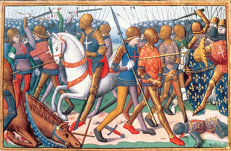 English soldiers escort captured French men-at-arms from the battlefield at Agincourt.