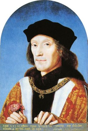 King Henry VII holding a Tudor Rose, wearing collar of the Order of the Golden Fleece, dated 1505, by unknown artist,