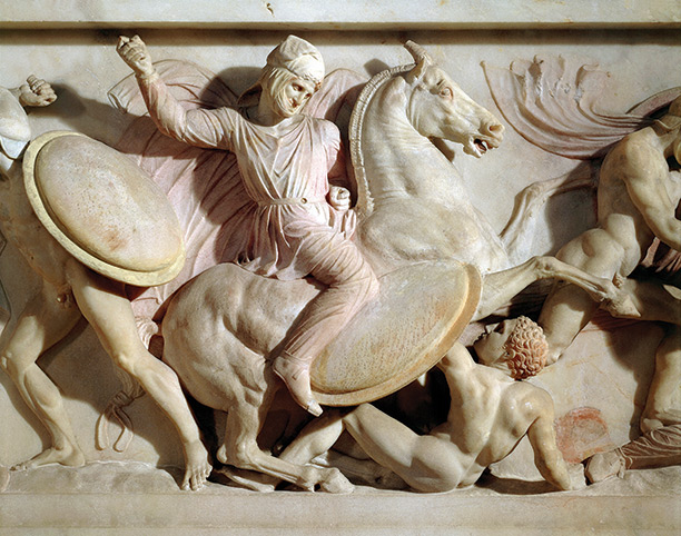 Tales of war: A detail from the fourth-century bc Sarcophagus of Alexander shows a Persian horseman killing a Greek warrior
