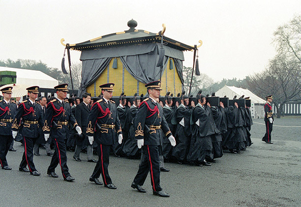 A nation's bulwark: the body of Hirohito is carried to its final resting place. Getty Images/Sankei Archive