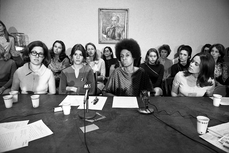 Fighting back: Newsweek employees hold a press conference in New York with lawyer Eleanor Holmes Norton to announce their suit under the 1964 Civil Rights Act, March 16th, 1970. © Bettmann/Getty Images