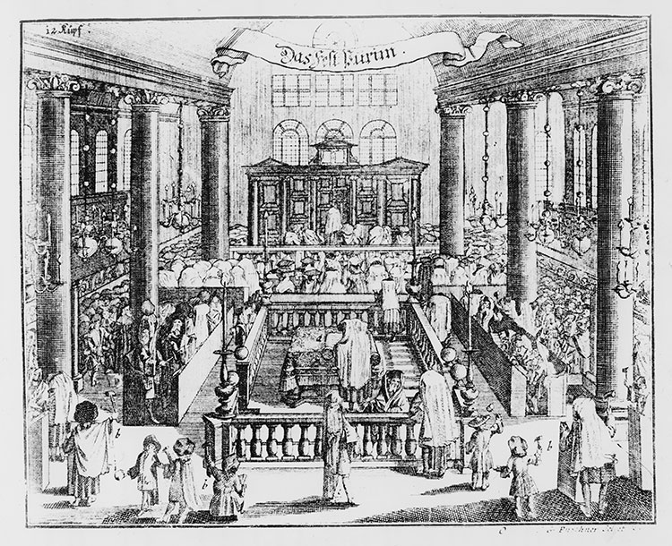 Enlightened: a Berlin synagogue, 18th-century German engraving.