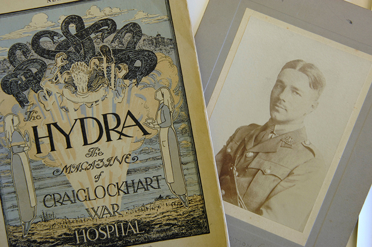 Creative healing: The Hydra, alongside a photograph of Wilfred Owen. Ⓒ Johnny Greig.