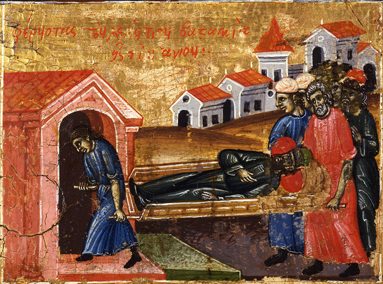 Detail showing the healing of Leontius, prefecture of Illyricum (412-413), after being taken to the tomb of the saint.